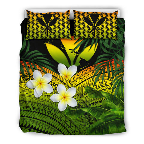 Image of Kanaka Maoli (Hawaiian) Bedding Set, Polynesian Plumeria Banana Leaves Reggae | Love The World