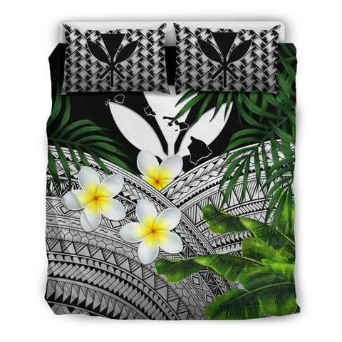 Kanaka Maoli (Hawaiian) Bedding Set, Polynesian Plumeria Banana Leaves Gray | Love The World