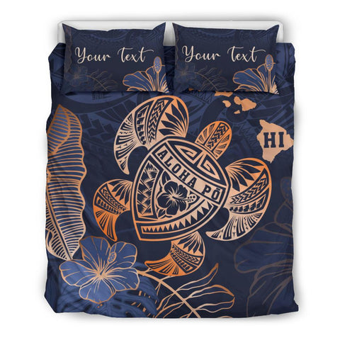 Personalized - Hawaii Polynesian Aloha Po Turtle Hibiscus Tropical Bedding Set - Special Edition - AH - J6