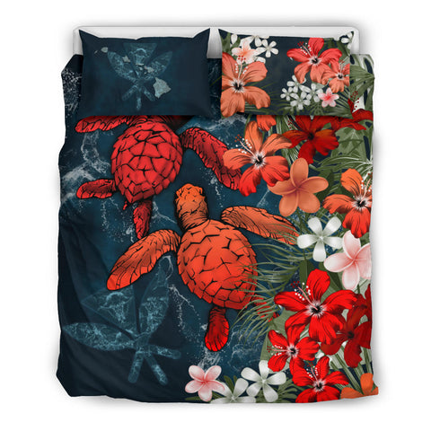 Image of Kanaka Maoli (Hawaiian) Bedding Set - Sea Turtle Tropical Hibiscus And Plumeria | Love The World