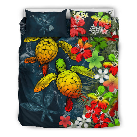 Kanaka Maoli (Hawaiian) Bedding Set - Sea Turtle Tropical Hibiscus And Plumeria | Love The World
