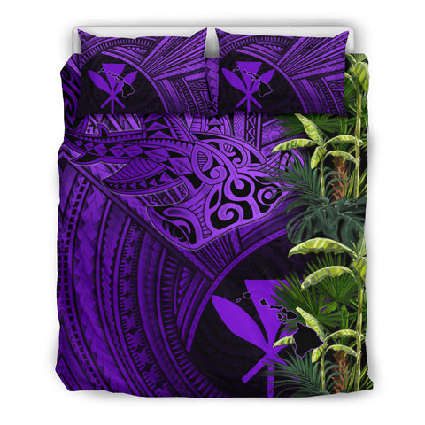 Kanaka Maoli (Hawaii) Bedding Set Shark Polynesian mix Coconut Tree, Palm Leaves TH5