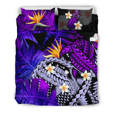 Kanaka Maoli (Hawaiian) Bedding Set, Polynesian Pineapple Banana Leaves Turtle Tattoo Purple A02