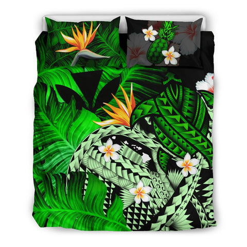 Image of Kanaka Maoli (Hawaiian) Bedding Set, Polynesian Pineapple Banana Leaves Turtle Tattoo Green A02