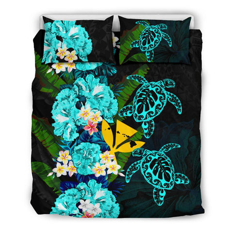 Kanaka Maoli (Hawaiian) Bedding Set - Polynesian Hibiscus Turtle Palm Leaves Blue I Love The World