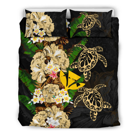 Kanaka Maoli (Hawaiian) Bedding Set - Polynesian Hibiscus Turtle Palm Leaves Gold I Love The World