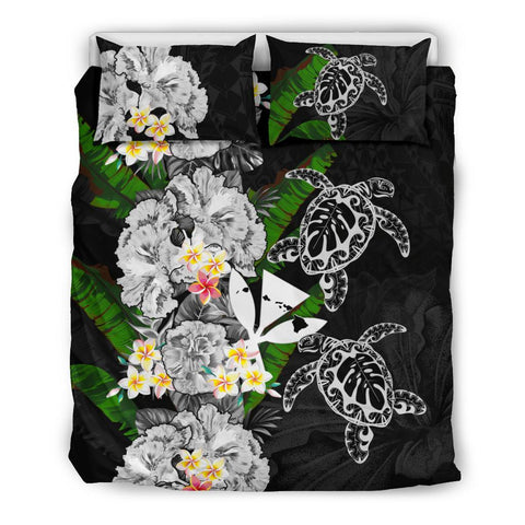 Kanaka Maoli (Hawaiian) Bedding Set - Polynesian Hibiscus Turtle Palm Leaves Gray I Love The World