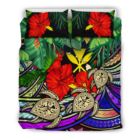 Kanaka Maoli (Hawaiian) Bedding Set -  Polynesia Turtle Colorful And Hibiscus | Love The World