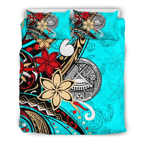 American Samoa Bedding Set - Tribal Flower With Special Turtles Blue Color - BN20