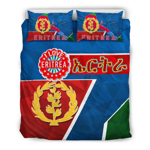 1stTheWorld Eritrea Flag Bedding Set  - I love Eritrea BN21
