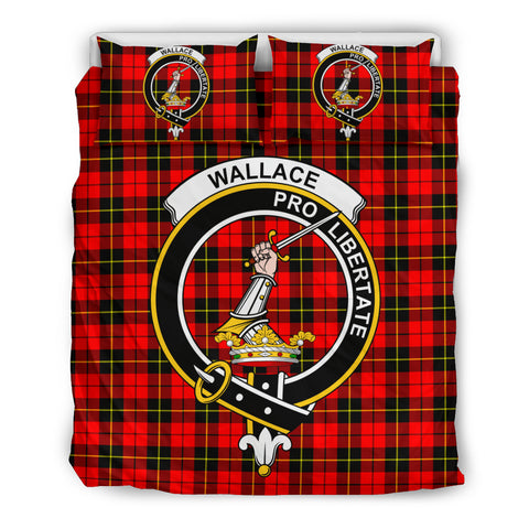 Wallace Hunting Red Clan Badge Tartan Bedding Set K5