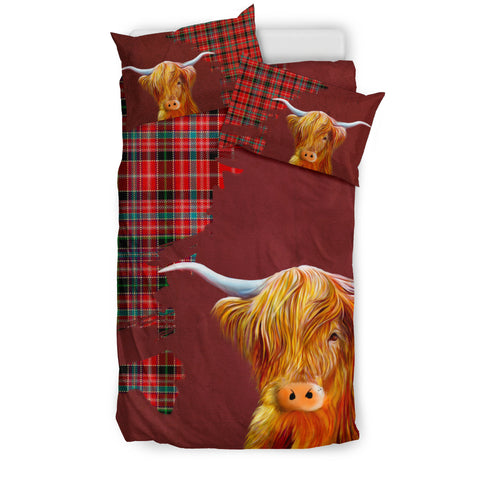 Aberdeen District Tartan Scottish Highland Cow Bedding Set HJ4