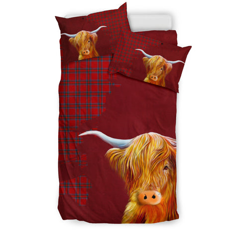 Inverness District Tartan Scottish Highland Cow Bedding Set Hj4