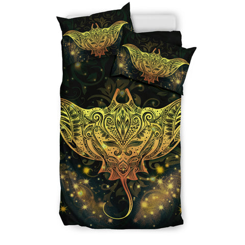 Image of Hawaii Bedding Set, Tribal Manta Ray Tattoo Duvet Cover - BN04