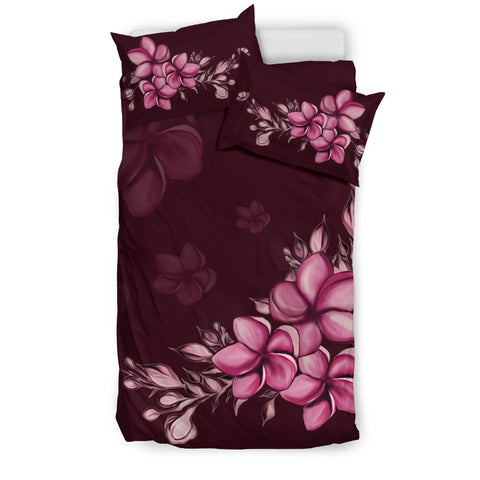 Hawaiian Bedding Set, Purple Plumeria Tropical Duvet Cover H5