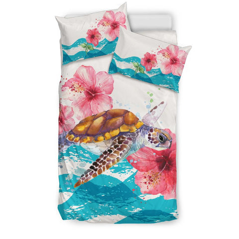 Image of Hawaiian Bedding Set - Vintage Turtle Hibiscus Ocean Aloha Duvet Cover A0