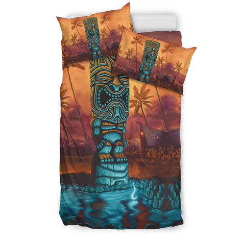 Hawaii Bedding Set, Tropical Palm Tree Tiki Duvet Cover K5
