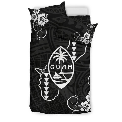 Image of Guam bedding set- Guam map and hibiscus with polynesian duvet cover NN2