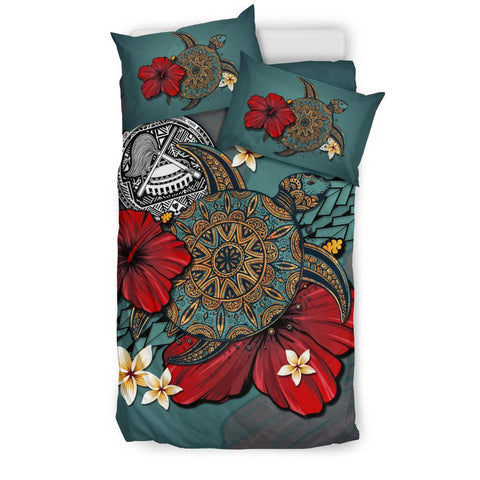 Image of American Samoa Bedding Set - Blue Turtle Tribal A02