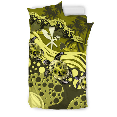 Hawaii Bedding Set - Yellow Turtle Hibiscus A24