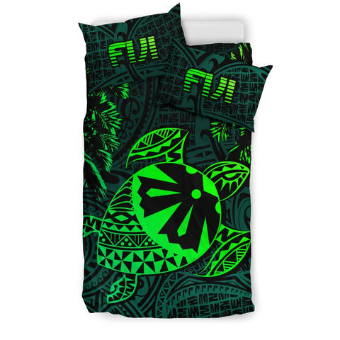 Fiji Islands Green Tapa Turtle Bedding Set | Home Set