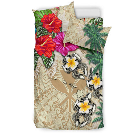 Image of Kanaka Maoli (Hawaii) Bedding Set - Hibiscus Turtle Tattoo Beige