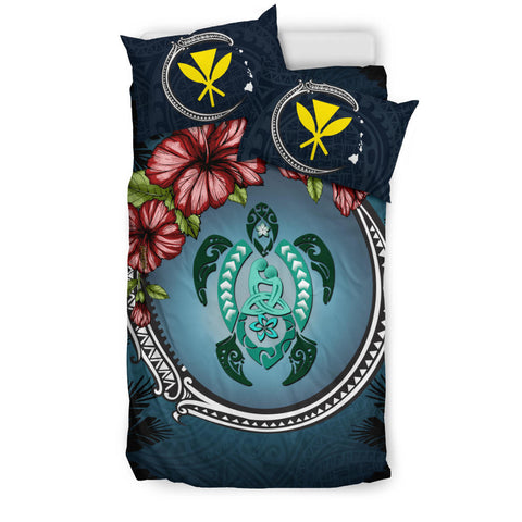 Image of Kanaka Maoli (Hawaiian) Bedding Set -  Polynesian Ohana Turtle Hibiscus Mother Son A24