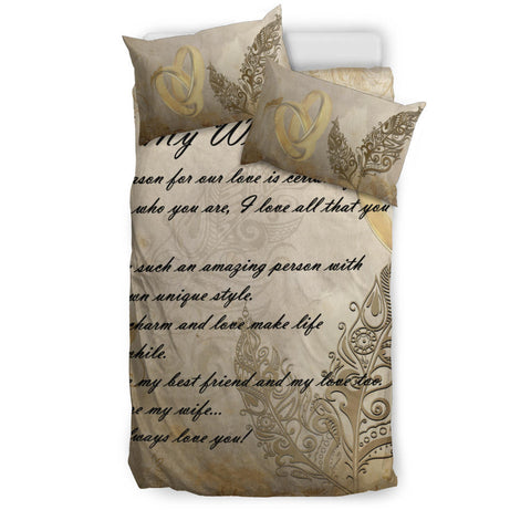 Image of New Zealand Bedding Set - Valentine To My Wife Silver Fern A24