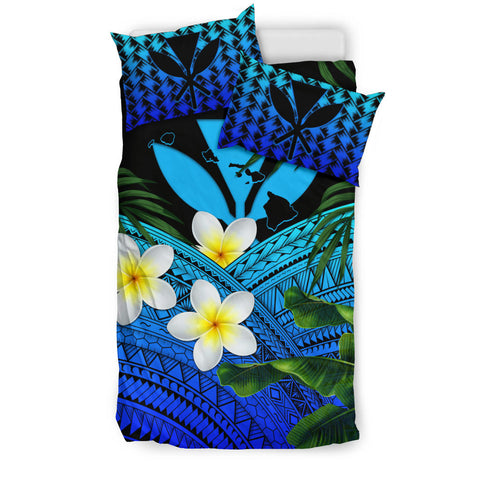 Kanaka Maoli (Hawaiian) Bedding Set, Polynesian Plumeria Banana Leaves Blue | Love The World