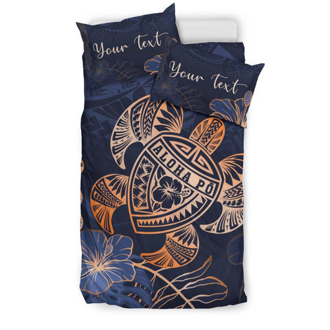Personalized - Hawaii Polynesian Aloha Po Turtle Hibiscus Tropical Bedding Set