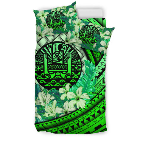 Image of Tahiti Bedding Set - Lauhala Polynesian Hibiscus Green | Love The World