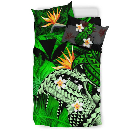 Kanaka Maoli (Hawaiian) Bedding Set, Polynesian Pineapple Banana Leaves Turtle Tattoo Green A02