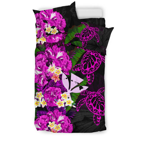 Kanaka Maoli (Hawaiian) Bedding Set - Polynesian Hibiscus Turtle Palm Leaves Pink I Love The World