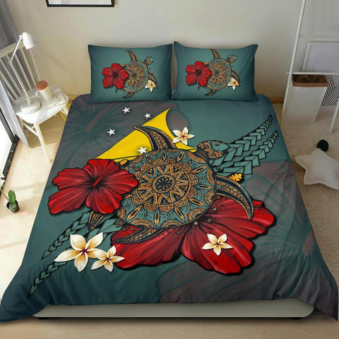 Image of Tokelau Bedding Set - Blue Turtle Tribal A02