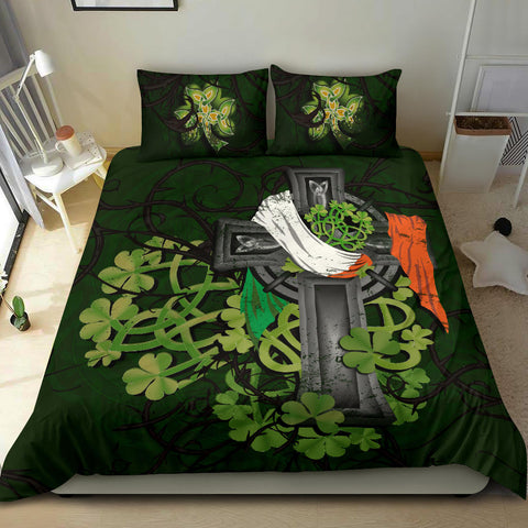 Irish Bedding Set Shamrock Celtic Cross A18
