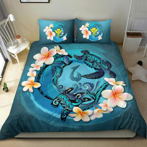 Hawaii Bedding Set, Blue Plumeria Animal Turtle Tattoo  A24