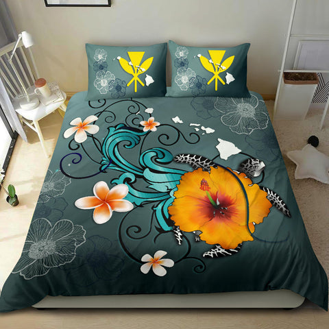 Hawaii Bedding Set - Map Turtle Hibiscus A24