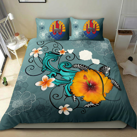 Tahiti Bedding Set - Map Turtle Hibiscus A24