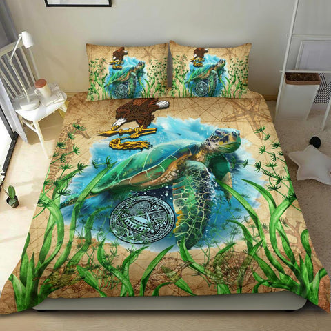 American Samoa Bedding Set Sea Turtle Vintage