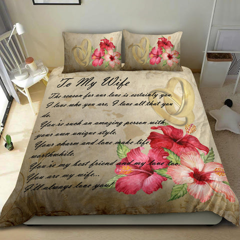 Image of Kanaka Maoli (Hawaiian) Bedding Set - Valentine To My Wife Hibiscus A24