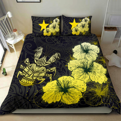 Image of Niue Hibiscus Turtle Polynesian Bedding Set - Style Gold A10