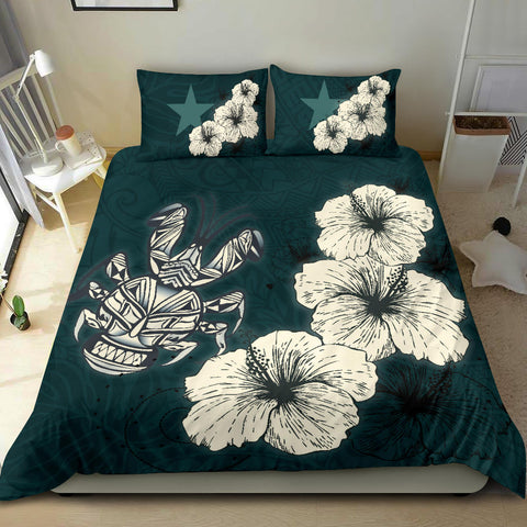 Image of Niue Hibiscus Turtle Polynesian Bedding Set - Style Green A10