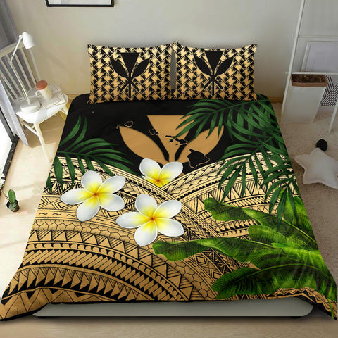 Kanaka Maoli (Hawaiian) Bedding Set, Polynesian Plumeria Banana Leaves Gold | Love The World