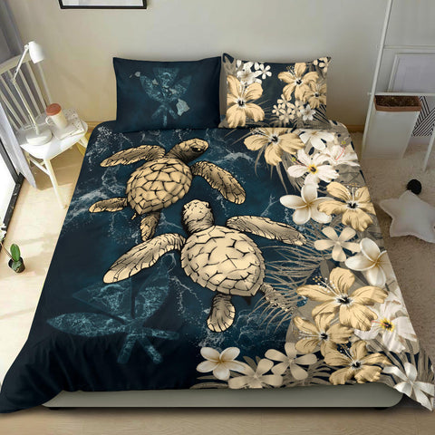 Image of Kanaka Maoli (Hawaiian) Quilt Bed set - Sea Turtle Tropical Hibiscus And Plumeria Gold A24
