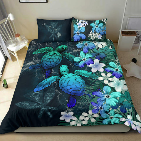 Kanaka Maoli (Hawaiian) Bedding set - Sea Turtle Tropical Hibiscus And Plumeria Blue A24
