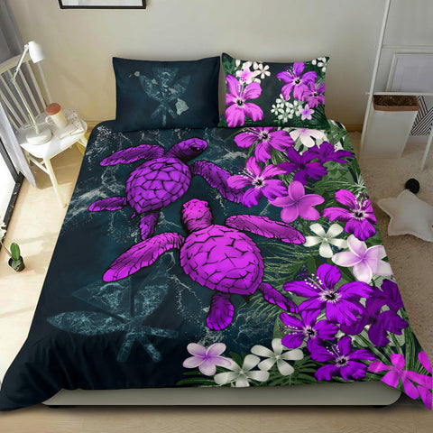 Image of Kanaka Maoli (Hawaiian) Bedding Set - Sea Turtle Tropical Hibiscus And Plumeria Purple A24
