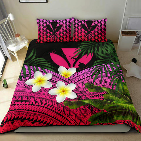 Kanaka Maoli (Hawaiian) Bedding Set, Polynesian Plumeria Banana Leaves Pink