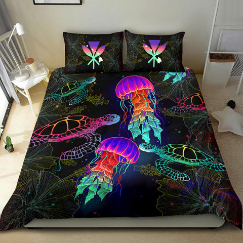 Image of Kanaka Maoli (Hawaiian) Bedding Set - Turtle And Jellyfish Colorful | Love The World