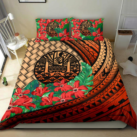Tahiti Bedding Set - Lauhala Polynesian Hibiscus Red | Love The World