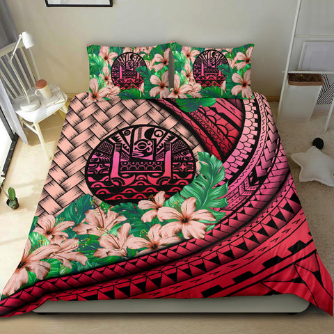 Image of Tahiti Bedding Set - Lauhala Polynesian Hibiscus Pink | Love The World